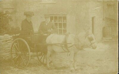 Man And Lady With Horse Drawn Buggy Outside House C1910 Real Photo Postcard