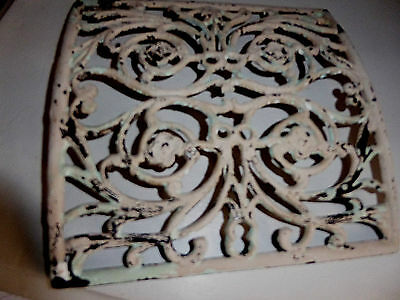"Atq. Curved Heat Vent  Cast Iron Cover Floral Design French Look 9 1/2"" x 9 1/2"""