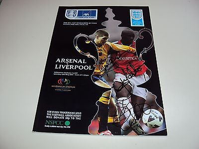 Liverpool 2001 Fa Cup Final Programme Hand Signed Mcallister & Heskey Treble Coa