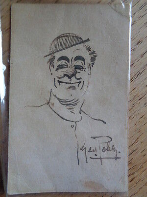 Autographed postcard self-portrait of George Robey, Comedian