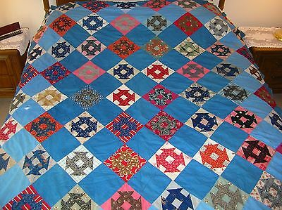 "vintage antique quilt top ""Anvil on Point"" pattern 75 x 64 hand sewn blocks"