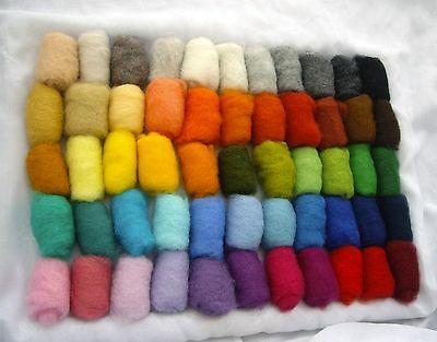 Sheep Wool Fiber for Needle Felting, 55 colors multicolor 165 gr / 5.82 ounces
