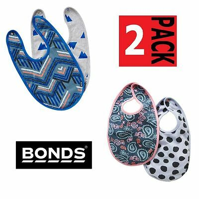 2 Pack Bonds Bibs Baby Kids Boys Girls Cotton Boy Girl Stretchies Bib 2Pk By3Ja