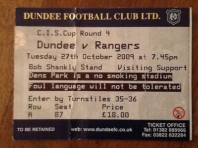 Dundee v Rangers League Cup Ticket October 2009