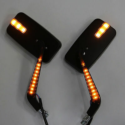 LED INTEGRADED TURN SIGNALS MOTORCYCLE REARVIEW SIDE MIRROR FOR HARLEY Black