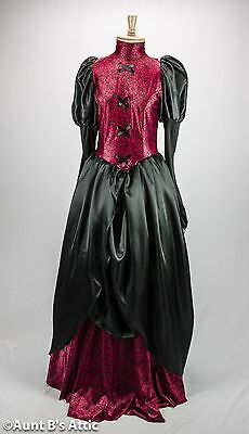 Victorian Gown One Piece Red & Black Poly Satin Dress Gothic Vampiress MD