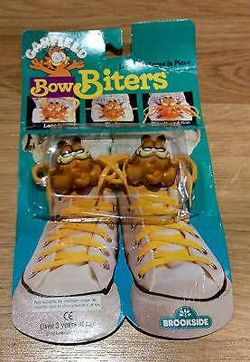 Original 1980s Garfield Bow Biters Shoe Lace Holders New In Packet Rare Vintage