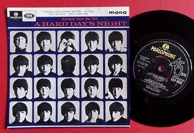 "Beatles 7"" Mono Uk 1St Ep 1964 A Hard Days Night Rare Parlophone Great Copy"