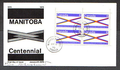 Canada Fdc 1970 Manitoba Centennial 6C #505-Tagged First Day Of Issue Cover Wnpg