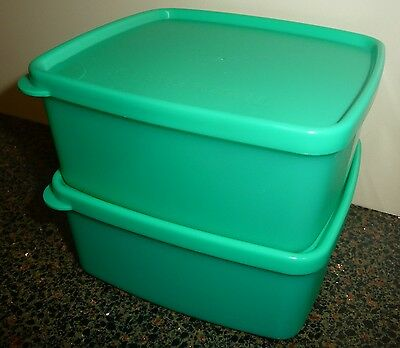 Tupperware Square Rounds Containers 400Ml X 2 Green - Brand New!