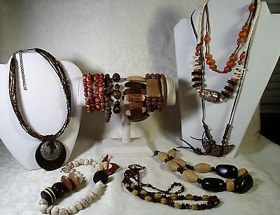 Vintage Jewelry Lot Ethnic Wooden Bead Necklaces Mahogany Agate Bangle Bracelets