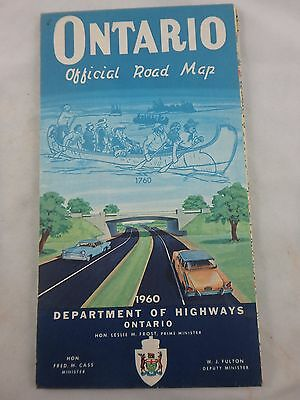 1960 Official Government Of Ontario Large Road Map
