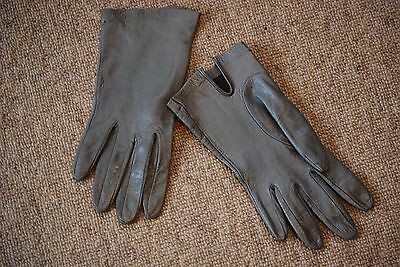 Women's grey soft leather gloves
