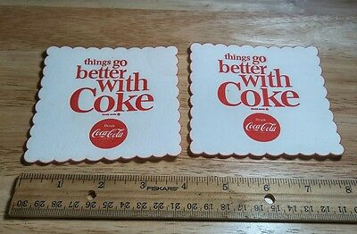 "2 VINTAGE COCA COLA 1960's Coasters ""Things go better with Coke"""