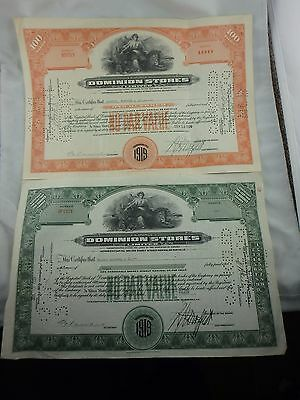 Two 1919 Dominion Stores Canada Certificates - 100 Shares And 10 Shares