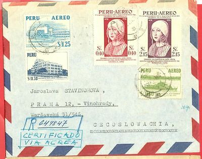Peru Topic Isabella / Isabel 2 diff stamp ++ used on Registered cover to CSR