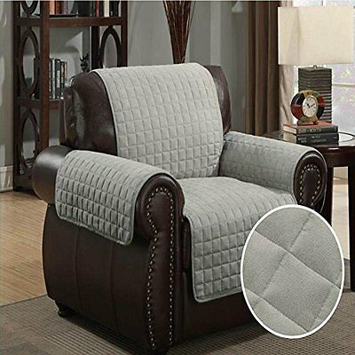 Furniture Protector Pet Cover Quilted Microsuede Chair 70 x 65 - Gray CTP