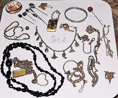 LOT 2 - 23 PC Antique Victorian Art Deco Mixed Jewelry Lot Stick Pins Watch Fob