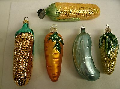 5 Vegetable Blown Glass Ornaments Cooking Corn Pickle Carrot - Christborn OWC