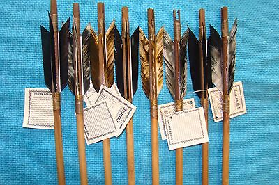 8 Handmade Navajo Indian  Arrows w/mixed feathers & Stone chipped Arrowheads!