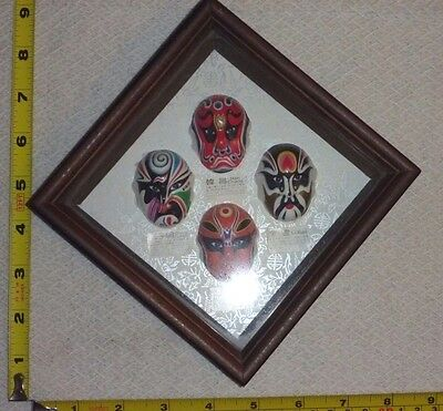 Vtg Framed Picture- Miniature CHINESE OPERA Facial Makeup MASKS - Asian Theater