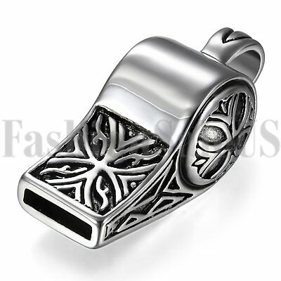 Punk Rock Polished Stainless Steel Vintage Mens Whistle Pendant Necklace Chain