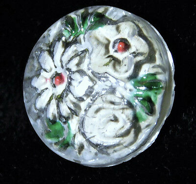 Small ANTIQUE REVERSE Painted GLASS CHARMSTRING Button PRISTINE!