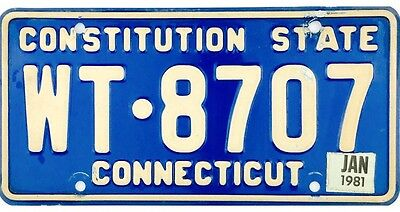 BEAUTIFUL 1977 Connecticut License Plate With 1981 Sticker Showing No Reserve