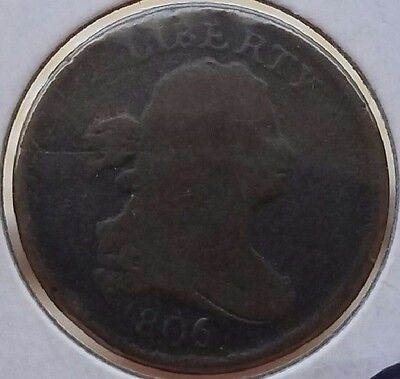 1806 HALF CENT**SMALL 6**WITH STEMS**R5 EXTREMELY RARE Variety !