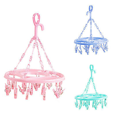 Hanging Dryer 18 Clips Pin Laundry Clothes Hanger Underwear Socks Foldable K6J3