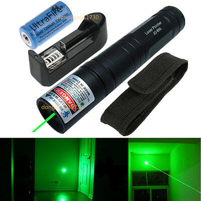 Powerful Green 1MW 532nm Laser Pointer Pen Light Beam Focus Military +1x Battery