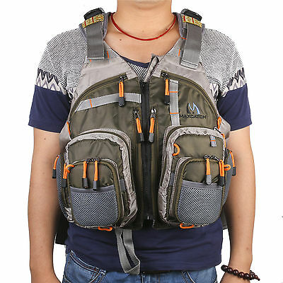 Multi-pocket Fly Fishing Backpack Chest Mesh Bag Vest Outdoor Size Adjustable