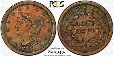 1850 PCGS AU Details Braided Hair Half Cent 1/2 Copper US Coin Item #10024XT