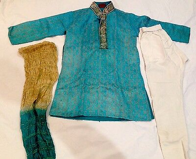 Wedding Party Bollywood 4-6 Yr Old Kids 3 Pcs Dress Kurta Pajama Churidar Stole