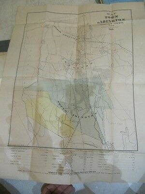 Rare  Map Of The Town Of Abington Mass 1875 C.w. Howland Folio Size