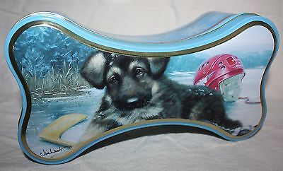 """Wild Wings Bone-Shaped Dog Treat Tin Can Container & Lid 9"""" X 3"""" Like New"""
