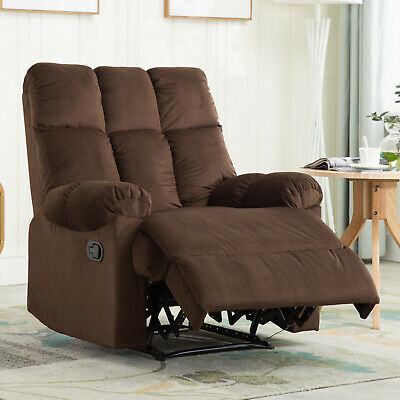 Attirant Brown Leather Recliner Armchair Accent Chair With Leg Rest Living Room  Furniture