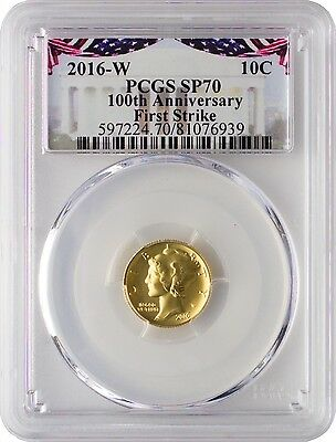 2016-W Gold Mercury Dime 100th Anniversary PCGS SP70 First Strike - Bunting