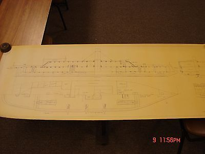 Vintage Ship Boat Blueprint Plan Nautical Art Print Css Arkansas Maritime Theme