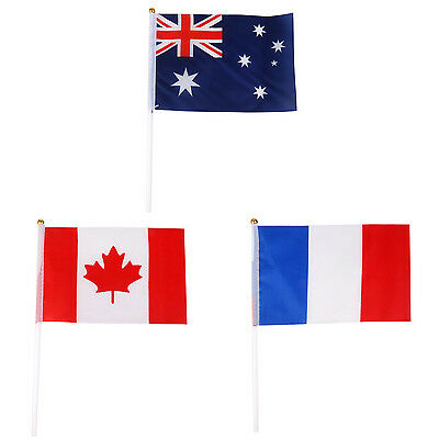 Hand Waving Canada National Flags Plastic Poles 21 x 14cm Pack of 12 P5O4