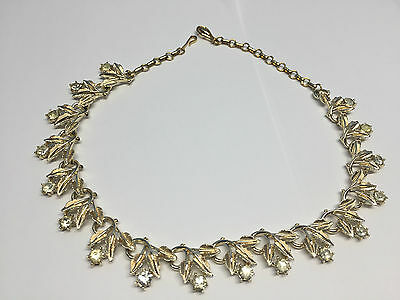 Vintage Coro Clear Rhinestone Gold Tone Flower Necklace