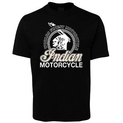New Black Indian Motorcycle Old Style T Shirt 100% Cotton Size S -5XL +7XL