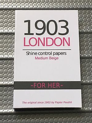 "1903 London for Her ""Medium Beige"" Shine Control Papers Face Oil Skin Blotting"