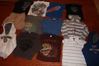 Lot Of 13 Youth Boys T Shirts Tees Hoodies Abercrombie Tapout Ed Hardy Fox Large