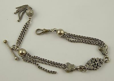 Antique  Silver Plated Fancy Watch Chain with T Bar LAYBY T002