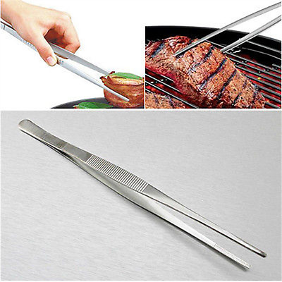 Silver Stainless Steel Long Food Tongs Straight Tweezers Kitchen Tool