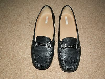 Geox Respira Black Leather Flat Shoes   Size 6.5