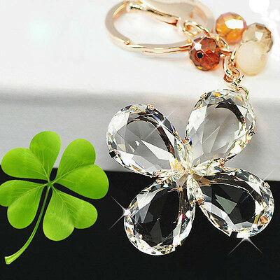 Female Four Leaf Clover Crystal Keychain Keyring Bag Jewelry Decoration Fashion