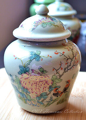 Hand Made Reproduced Antique Oriental Small Celadon Ginger Jar Flower and Bird