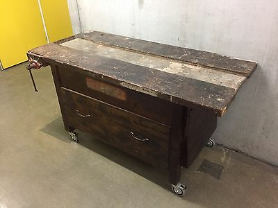 Vintage Solid Timber Work Bench - Vice / clamp 'Carter'  Made in Australia